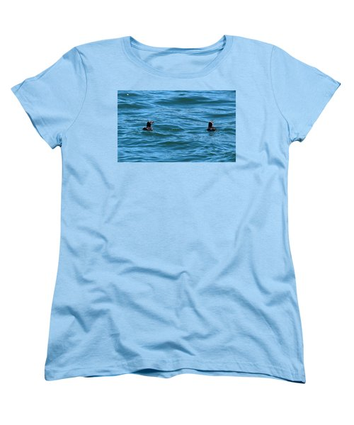 Rhinoceros Auklet Women's T-Shirt (Standard Cut) by Linda Kerkau