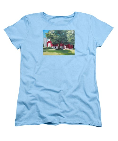 Women's T-Shirt (Standard Cut) featuring the painting Rich's Barn by Carol Hart