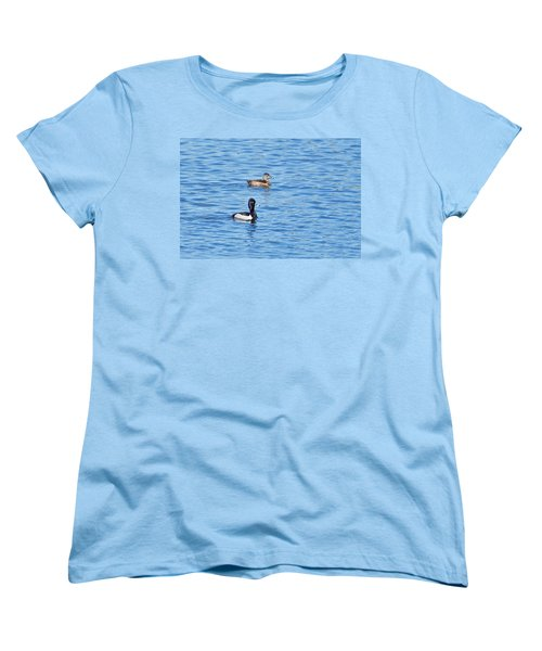 Women's T-Shirt (Standard Cut) featuring the photograph Ring-neck Ducks by Michael Peychich