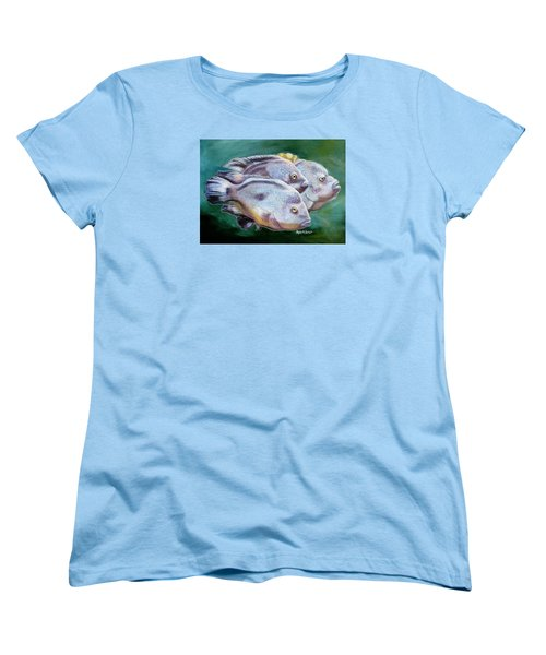 Women's T-Shirt (Standard Cut) featuring the painting Rio Grande Cichlids by Phyllis Beiser
