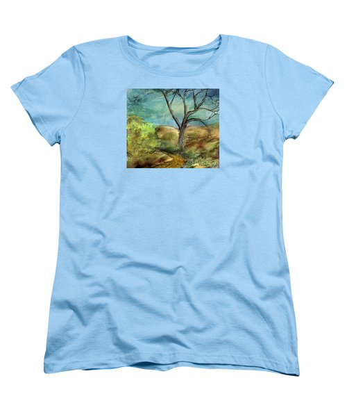Women's T-Shirt (Standard Cut) featuring the painting Riverbed  by Annette Berglund