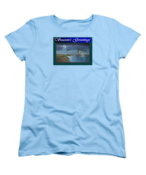Women's T-Shirt (Standard Cut) featuring the painting Riverboat Season's Greetings by Stuart Swartz