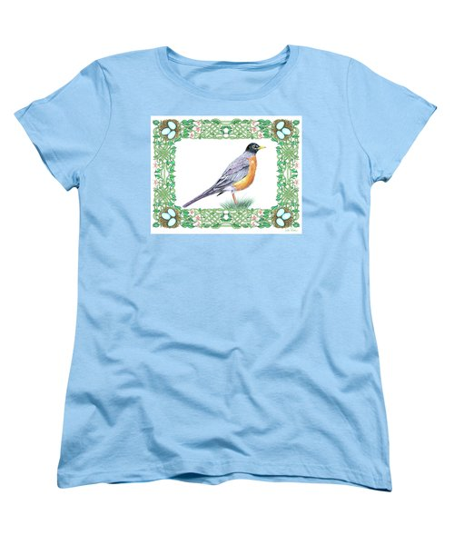 Robin In Spring Women's T-Shirt (Standard Cut) by Lise Winne