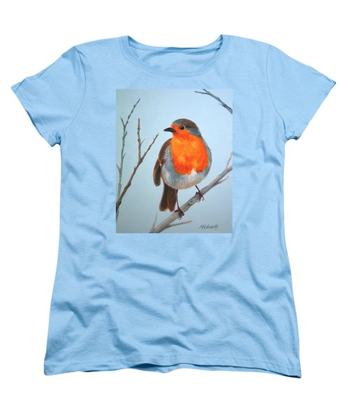 Women's T-Shirt (Standard Cut) featuring the painting Robin In The Tree by Marna Edwards Flavell
