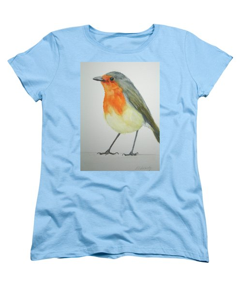 Women's T-Shirt (Standard Cut) featuring the painting Robin by Marna Edwards Flavell