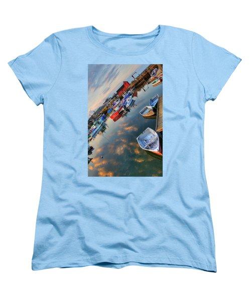 Women's T-Shirt (Standard Cut) featuring the photograph Rockport Harbor Motif #1  by Joann Vitali