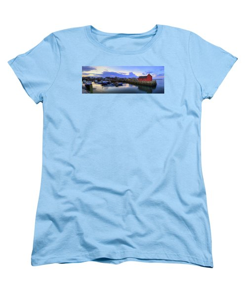 Women's T-Shirt (Standard Cut) featuring the photograph Rockport Harbor Sunset Panoramic With Motif No1 by Joann Vitali
