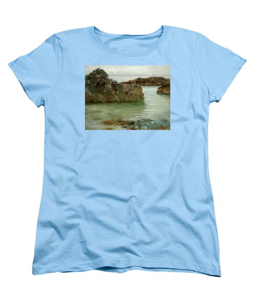 Women's T-Shirt (Standard Cut) featuring the painting Rocks At Newport by Henry Scott Tuke