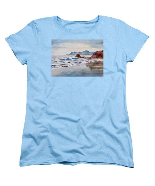 Women's T-Shirt (Standard Cut) featuring the painting Rocky Beach by Geni Gorani