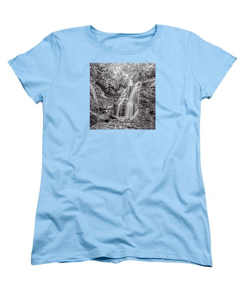 Women's T-Shirt (Standard Cut) featuring the photograph Rocky Falls - Bw by Christopher Holmes