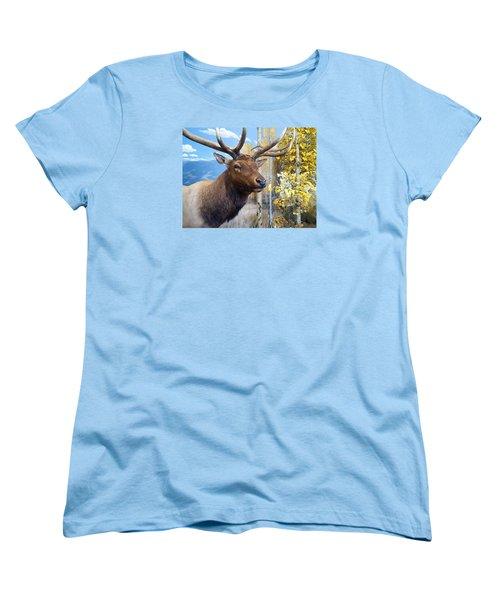 Rocky Mountain Elk Women's T-Shirt (Standard Cut) by Karon Melillo DeVega