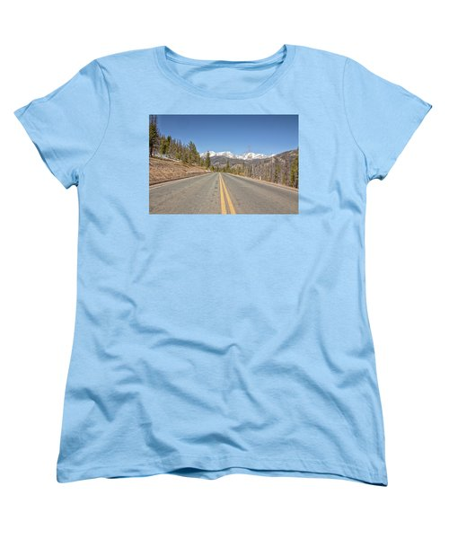 Women's T-Shirt (Standard Cut) featuring the photograph Rocky Mountain Road Heading Towards Estes Park, Co by Peter Ciro