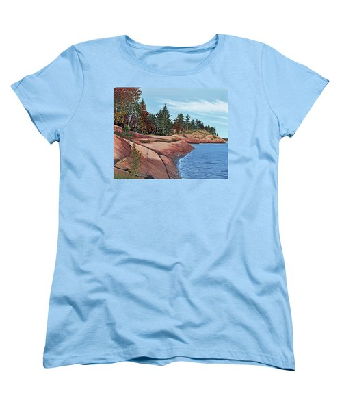 Women's T-Shirt (Standard Cut) featuring the painting Rocky River Shore by Kenneth M Kirsch