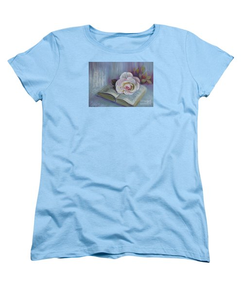 Women's T-Shirt (Standard Cut) featuring the painting Romantic Story by Elena Oleniuc