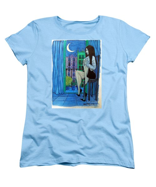 Women's T-Shirt (Standard Cut) featuring the painting Romantic Woman At Balcony by Don Pedro De Gracia