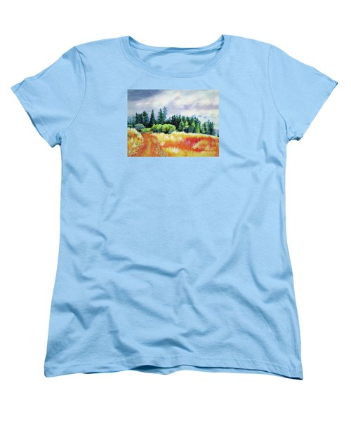 Women's T-Shirt (Standard Cut) featuring the painting Romp On The Hill by Kathy Braud