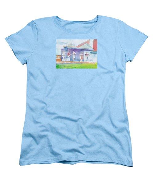 Roots Retreat Bluegrass Women's T-Shirt (Standard Cut) by David Sockrider
