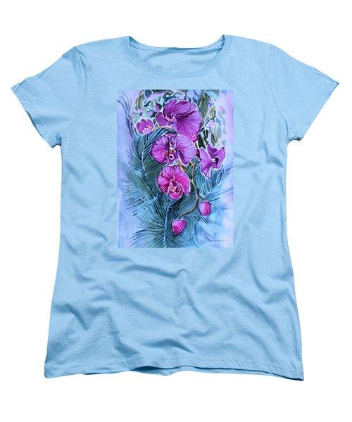 Rose Orchids Women's T-Shirt (Standard Cut) by Mindy Newman