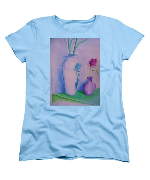 Women's T-Shirt (Standard Cut) featuring the painting Roses  In Vase by Eric  Schiabor