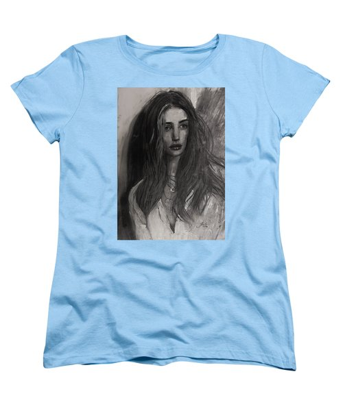 Women's T-Shirt (Standard Cut) featuring the painting Rosie Huntington-whiteley by Jarko Aka Lui Grande