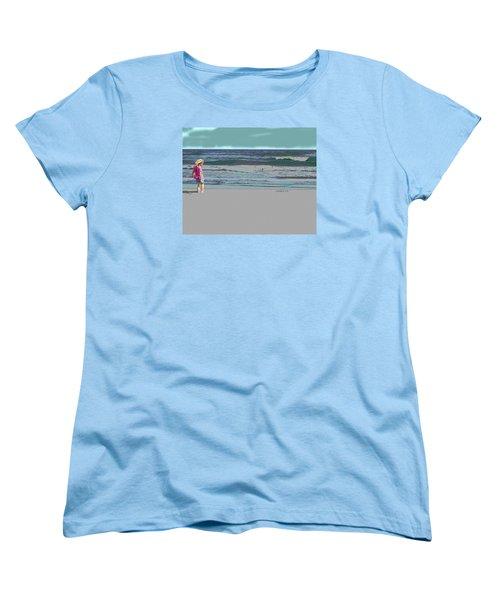 Rosie On The Beach Women's T-Shirt (Standard Cut) by Walter Chamberlain