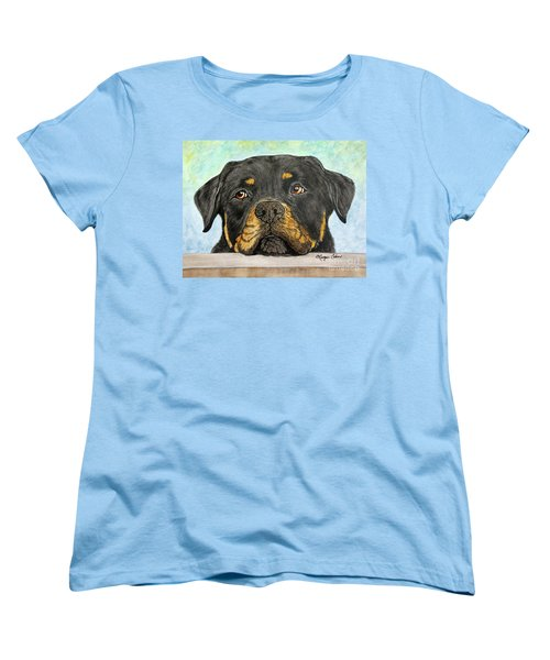 Rottweiler's Sweet Face 2 Women's T-Shirt (Standard Cut) by Megan Cohen