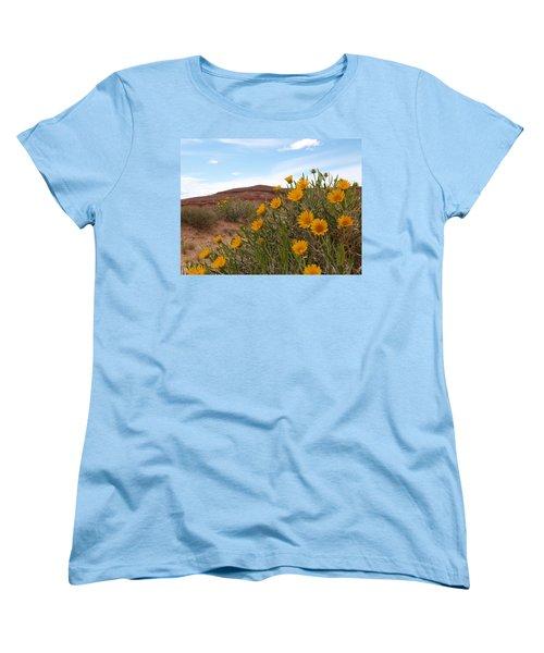 Women's T-Shirt (Standard Cut) featuring the photograph Rough Mulesear Flowers by Jenessa Rahn