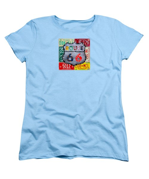 Route 66 Highway Road Sign License Plate Art Women's T-Shirt (Standard Fit)