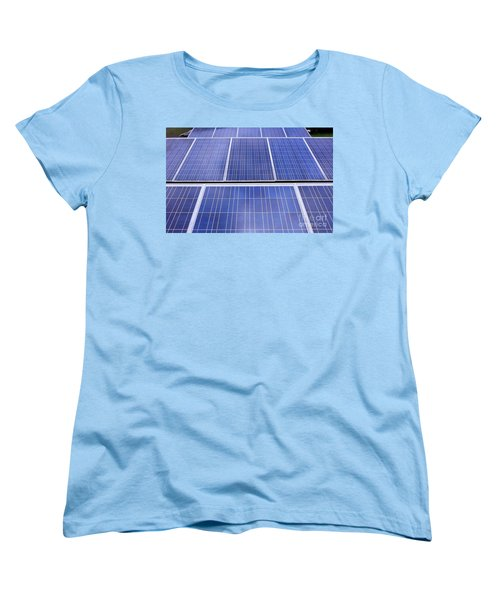 Women's T-Shirt (Standard Cut) featuring the photograph Rows Of Solar Panels by Yali Shi