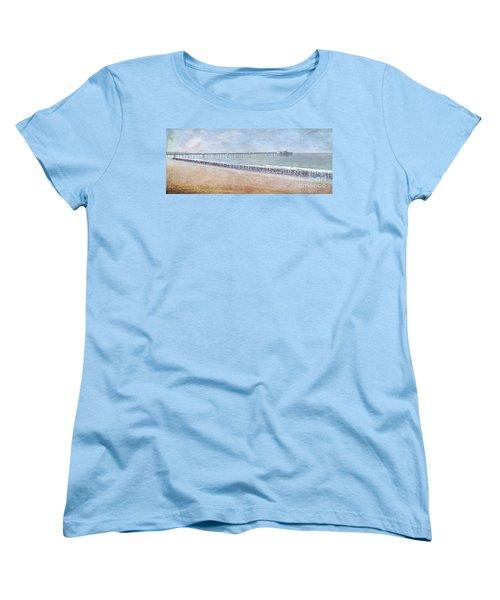 Women's T-Shirt (Standard Cut) featuring the photograph Runners On The Beach Panorama by David Zanzinger