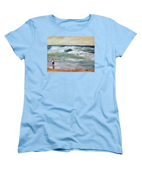 Running The Beach Women's T-Shirt (Standard Cut) by Michael Helfen