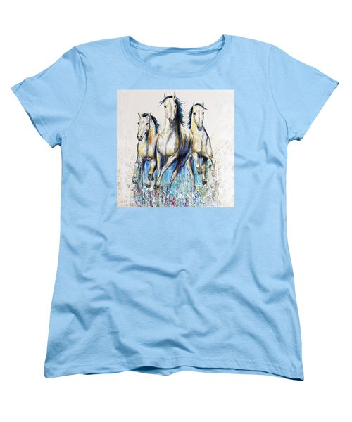 Women's T-Shirt (Standard Cut) featuring the painting Running With The Herd Horse Painting by Jennifer Godshalk