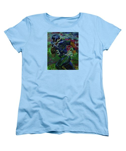 Women's T-Shirt (Standard Cut) featuring the painting Russell Wilson - Seahawks Football by Walter Fahmy
