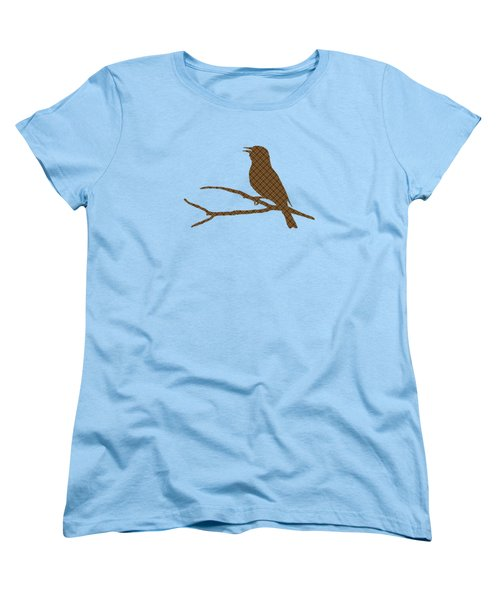 Rustic Brown Bird Silhouette Women's T-Shirt (Standard Cut) by Christina Rollo