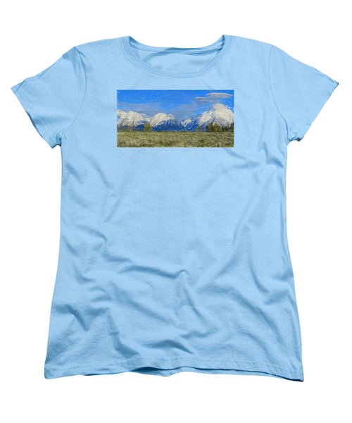Rustic Grand Teton Range On Wood Women's T-Shirt (Standard Cut) by Dan Sproul