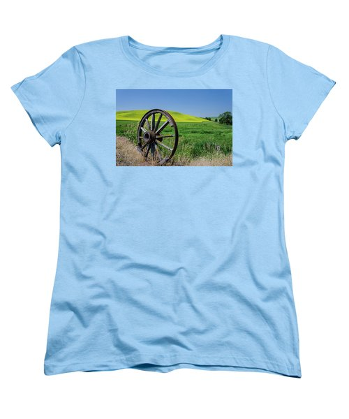 Rustic Wagon Wheel In The Palouse Women's T-Shirt (Standard Cut) by James Hammond