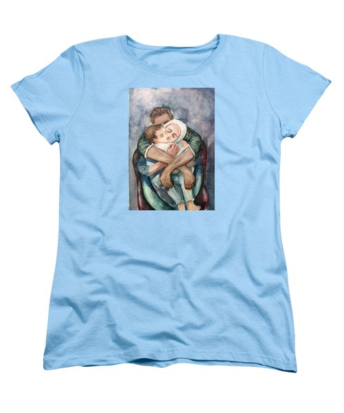 Women's T-Shirt (Standard Cut) featuring the painting The Saddest Moment by Laila Awad Jamaleldin
