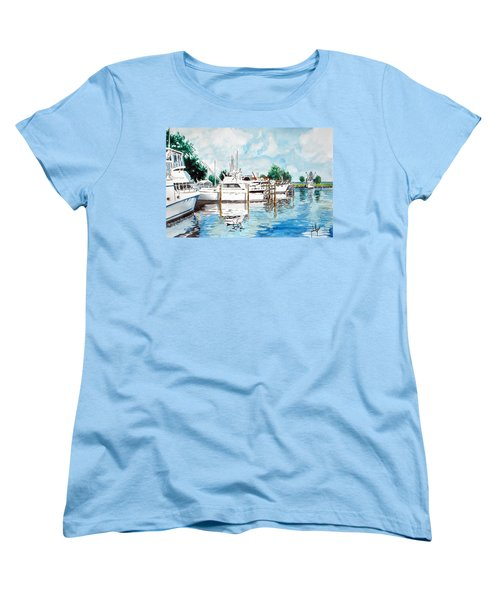Women's T-Shirt (Standard Cut) featuring the painting Safe Harbor by Jim Phillips