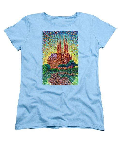Sagrada Familia Barcelona Modern Impressionist Palette Knife Oil Painting By Ana Maria Edulescu Women's T-Shirt (Standard Cut) by Ana Maria Edulescu