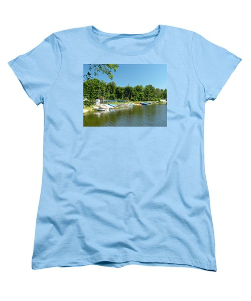 Sail Boats At Rest Women's T-Shirt (Standard Cut) by Donald C Morgan