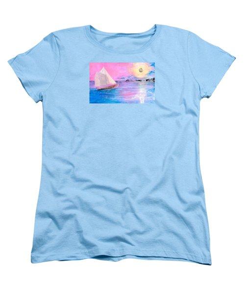 Sailboat In Pink Moonlight  Women's T-Shirt (Standard Cut) by Robin Maria Pedrero