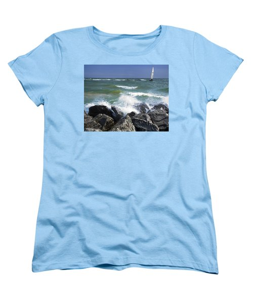 Sailboat Sailing Off The Shore At Ottawa Beach State Park Women's T-Shirt (Standard Cut)