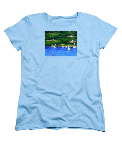 Sailboats On Hudson Women's T-Shirt (Standard Cut) by Anne Marie Brown