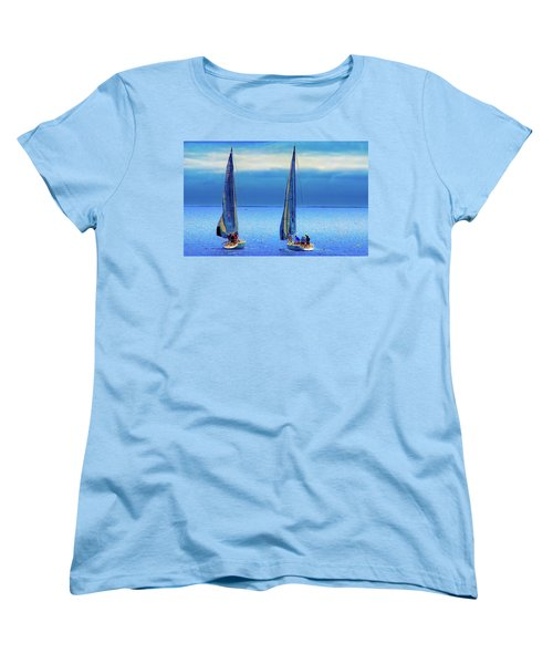 Sailing In The Blue Women's T-Shirt (Standard Cut) by Joseph Hollingsworth