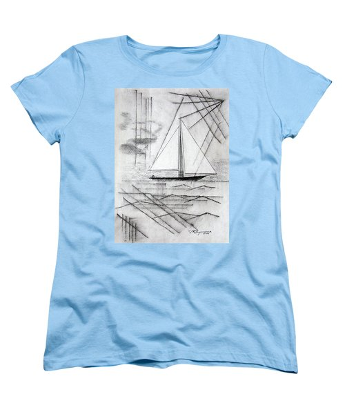 Sailing In The City Harbor Women's T-Shirt (Standard Cut) by J R Seymour