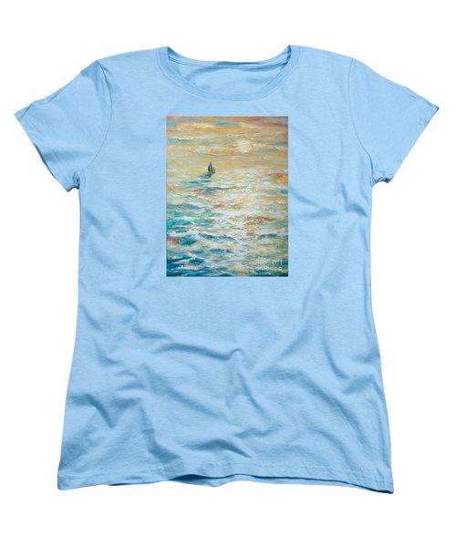 Sailing Into The Sunset Women's T-Shirt (Standard Cut) by Linda Olsen