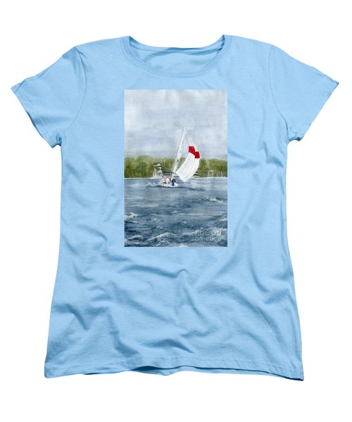 Women's T-Shirt (Standard Cut) featuring the painting Sailing On Niagara River by Melly Terpening