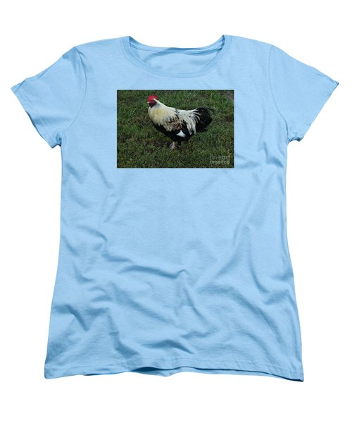 Women's T-Shirt (Standard Cut) featuring the photograph Salmon Faverolle Rooster by Mark McReynolds