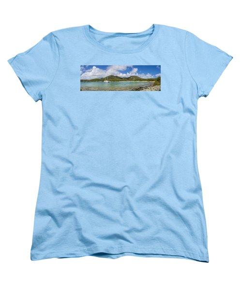 Women's T-Shirt (Standard Cut) featuring the photograph Salt Pond Bay Panoramic by Adam Romanowicz