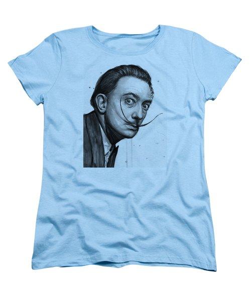Salvador Dali Portrait Black And White Watercolor Women's T-Shirt (Standard Fit)
